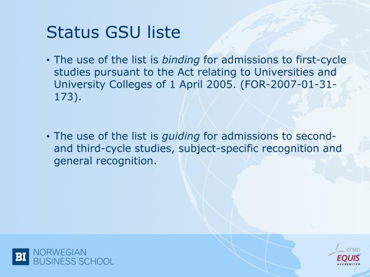 Status GSU liste
