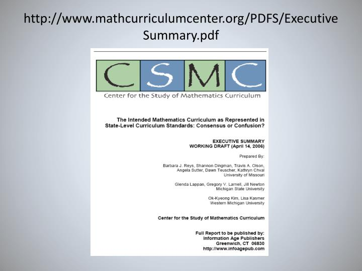 http://www.mathcurriculumcenter.org/PDFS/ExecutiveSummary.pdf