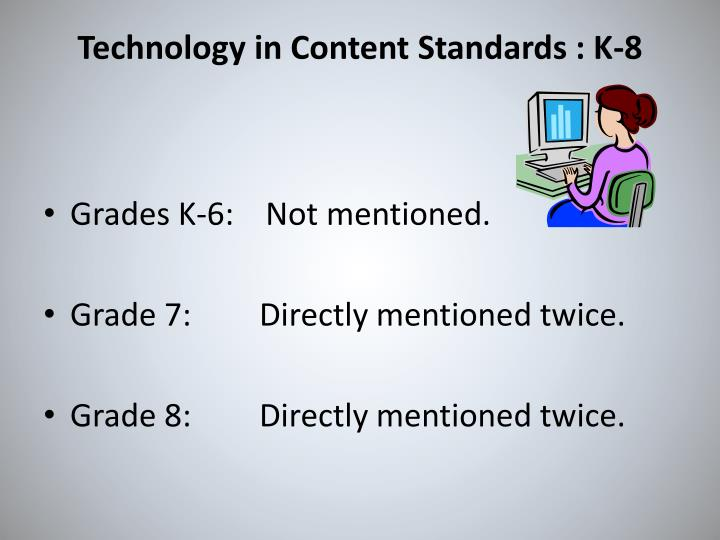 Technology in Content Standards : K-8