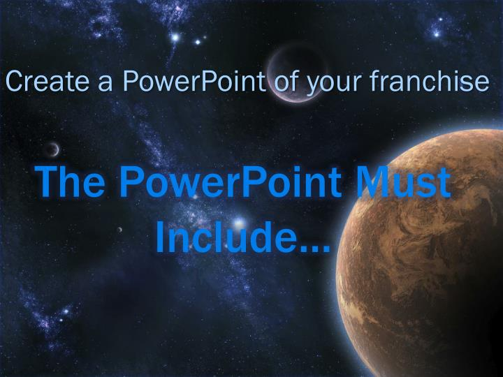 The PowerPoint Must Include…
