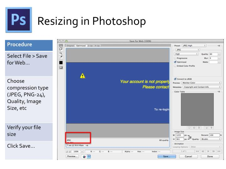 Resizing in Photoshop