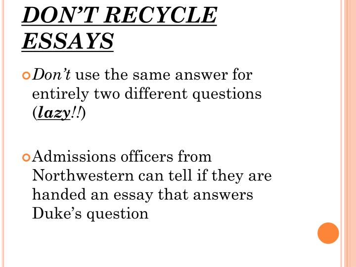 DON'T RECYCLE ESSAYS
