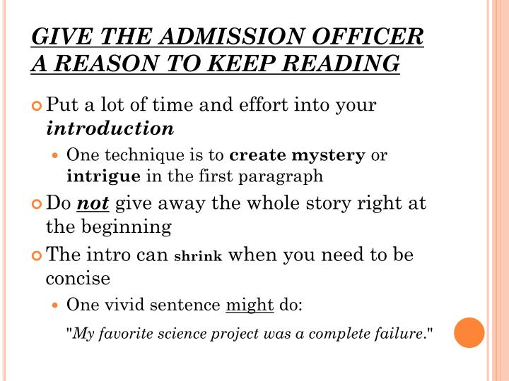 GIVE THE ADMISSION OFFICER