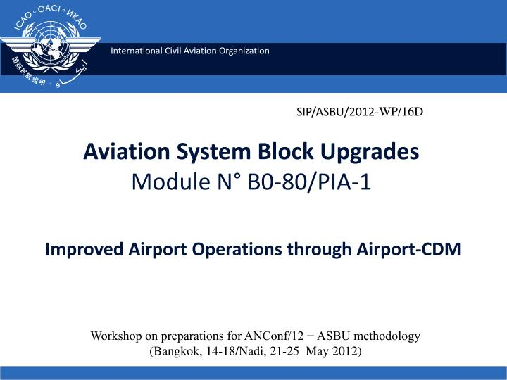 aviation system block upgrades module n b0 80 pia 1 improved airport operations through airport cdm n.