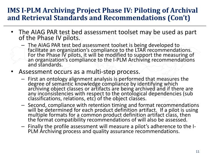 IMS I-PLM Archiving Project Phase IV: Piloting of Archival and Retrieval Standards and Recommendations (