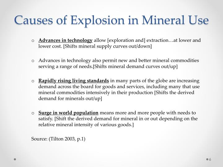 Causes of Explosion in Mineral Use