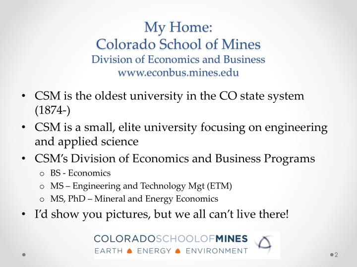 My home colorado school of mines division of economics and business www econbus mines edu