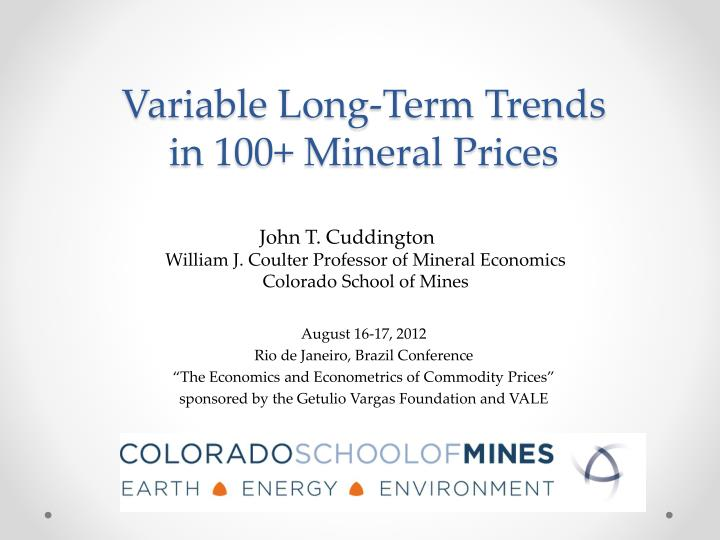 Variable long term trends in 100 mineral prices
