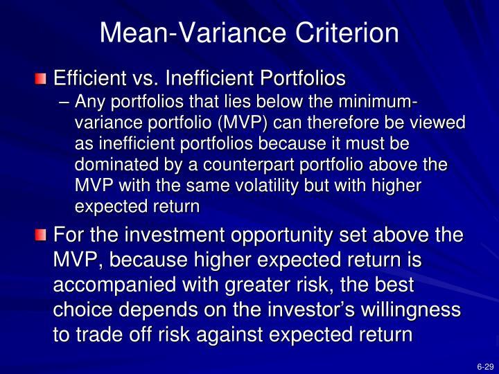 Mean-Variance Criterion