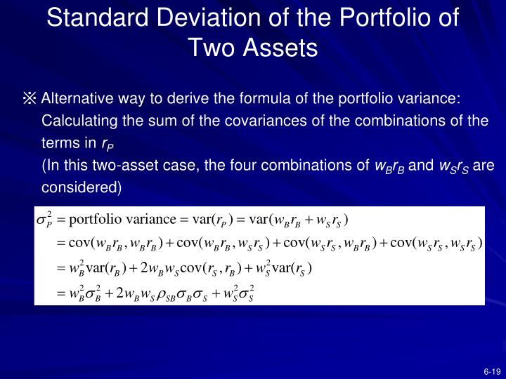 Standard Deviation of the Portfolio of     Two Assets
