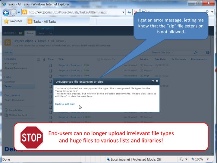 """I get an error message, letting me know that the """"zip"""" file extension is not allowed."""