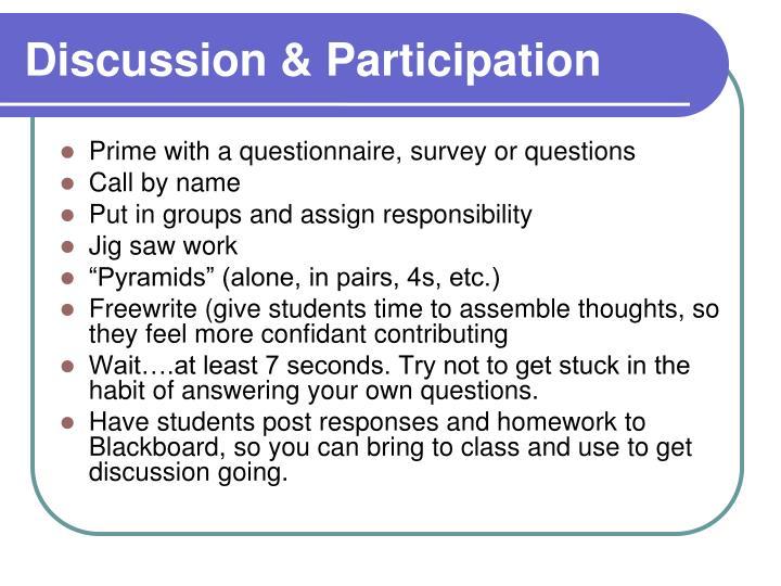 Discussion & Participation