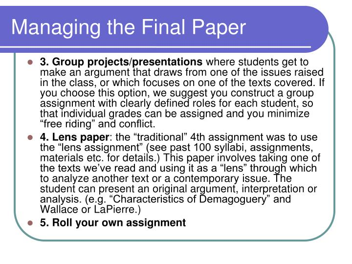 Managing the Final Paper