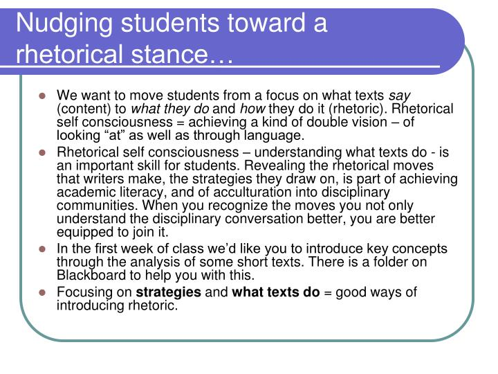 Nudging students toward a rhetorical stance…