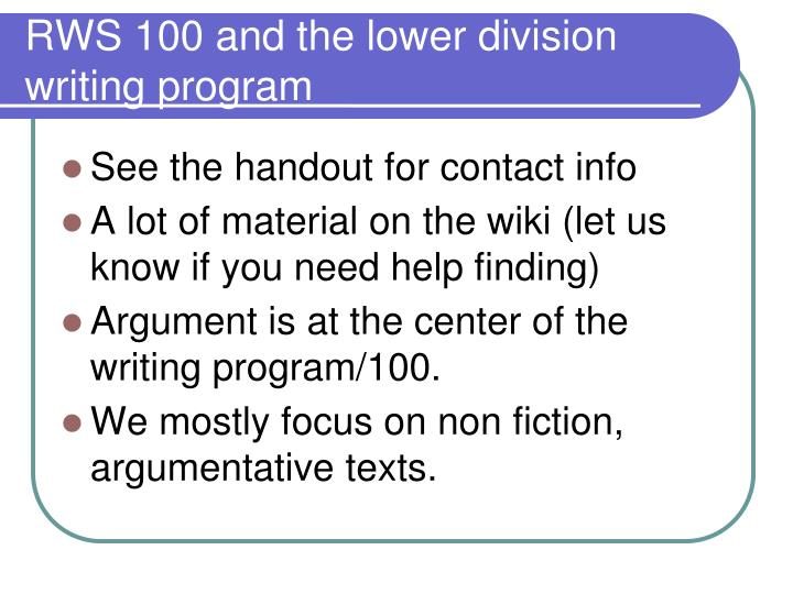 Rws 100 and the lower division writing program