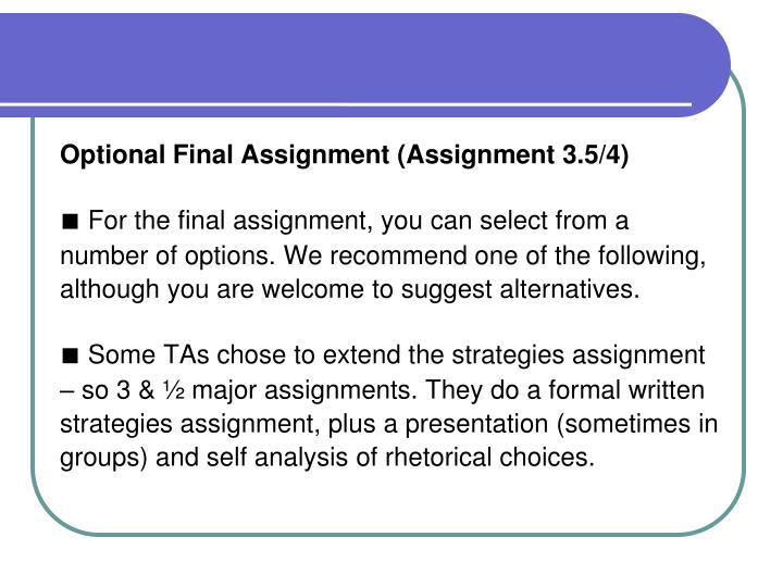 Optional Final Assignment (Assignment 3.5/4)