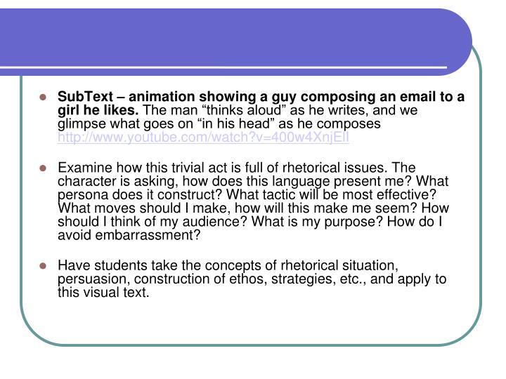 SubText – animation showing a guy composing an email to a girl he likes.