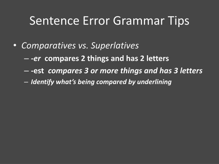 Sentence Error Grammar Tips