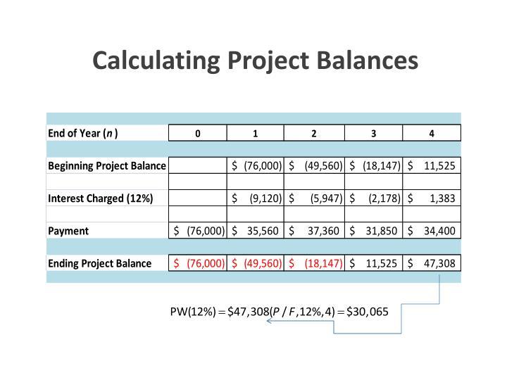 Calculating Project Balances