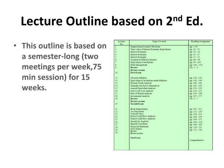 Lecture Outline based on 2