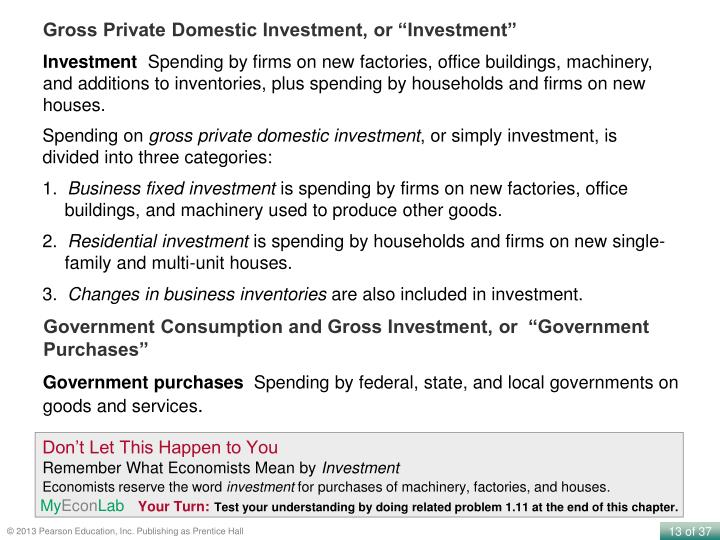 """Gross Private Domestic Investment, or """"Investment"""""""