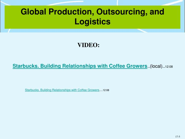 Global production outsourcing and logistics1