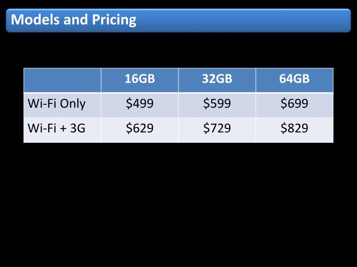 Models and Pricing
