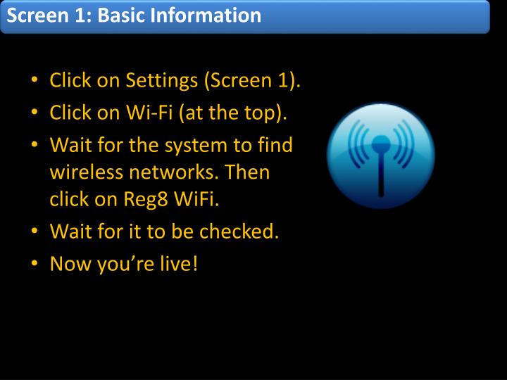 Screen 1: Basic Information