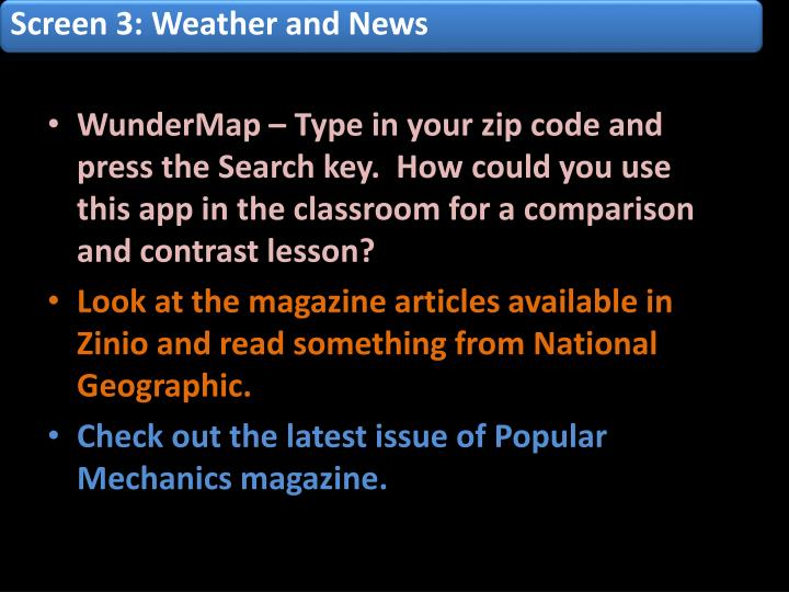 Screen 3: Weather and News