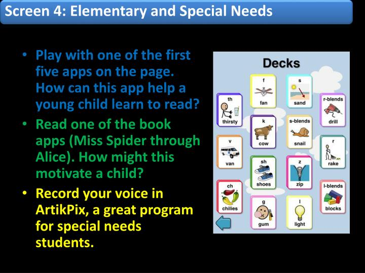Screen 4: Elementary and Special Needs