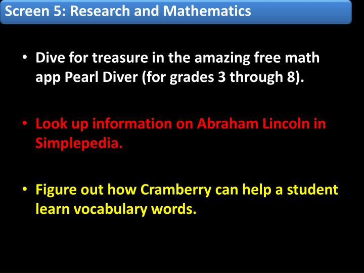 Screen 5: Research and Mathematics