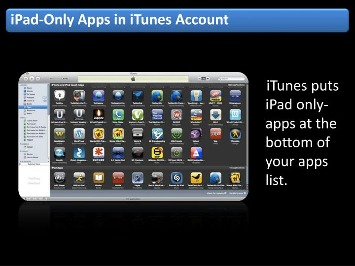 iPad-Only Apps in iTunes Account