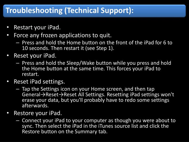 Troubleshooting (Technical Support):