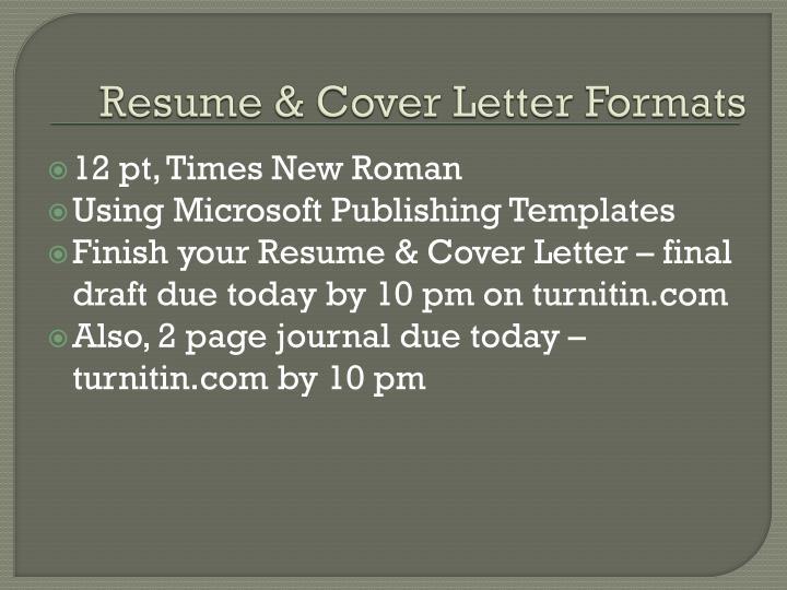 Resume & Cover Letter Formats