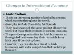 changes in international economy