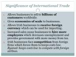 significance of international trade