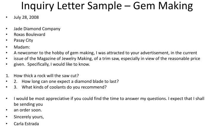 Inquiry Letter Sample – Gem Making