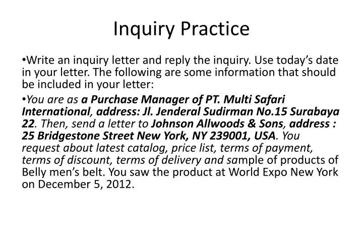 Inquiry Practice