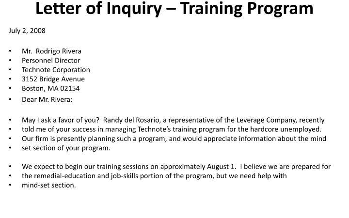 Letter of Inquiry – Training Program
