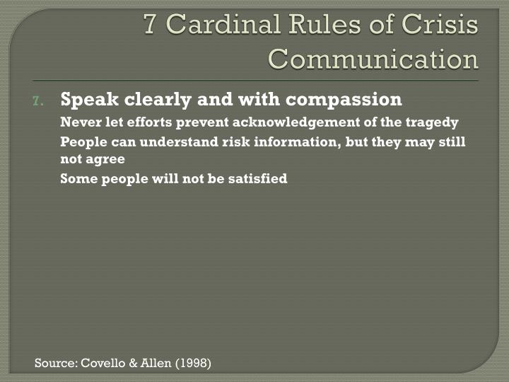 7 Cardinal Rules of Crisis Communication
