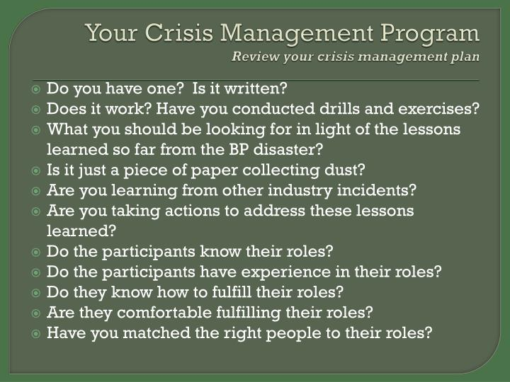Your Crisis Management Program
