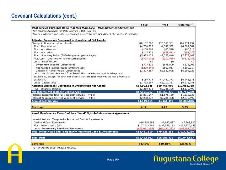 Covenant Calculations (cont.)