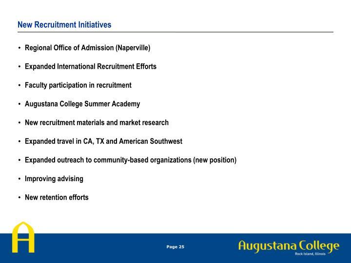 New Recruitment Initiatives