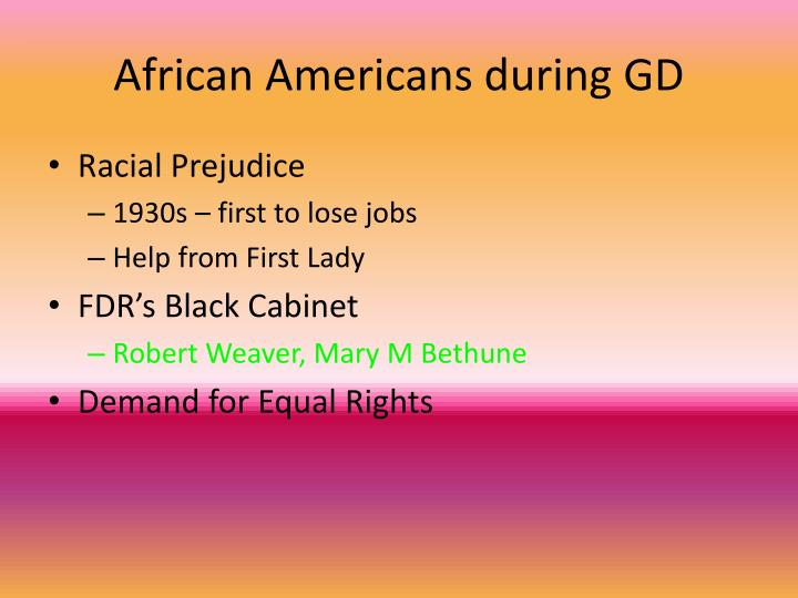 African Americans during GD