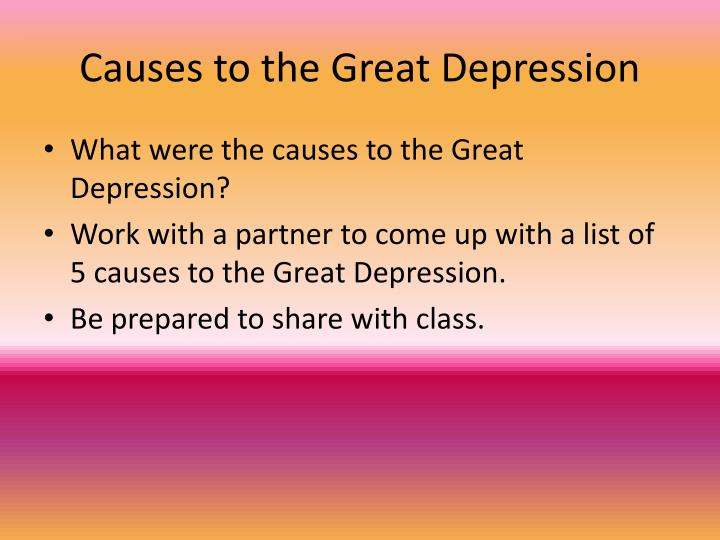 Causes to the Great Depression