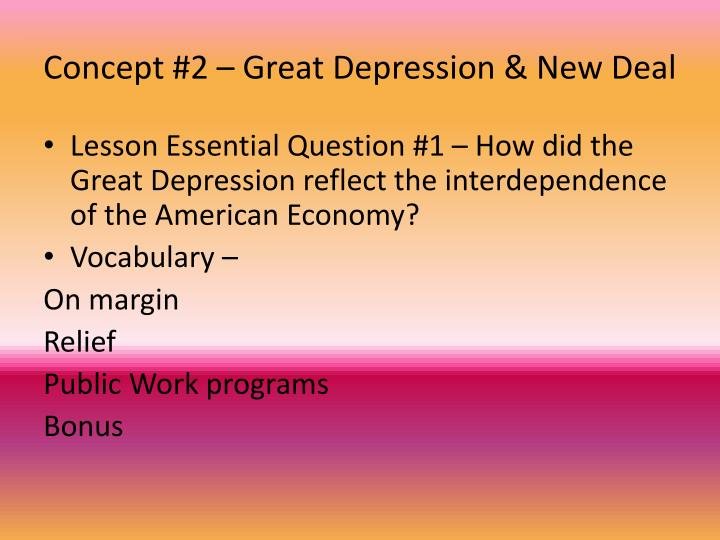Concept 2 great depression new deal