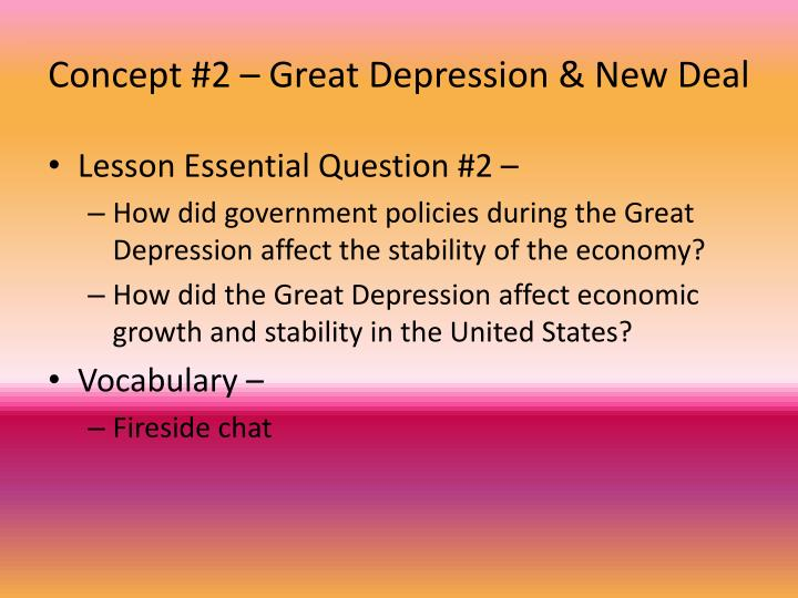 Concept #2 – Great Depression & New Deal