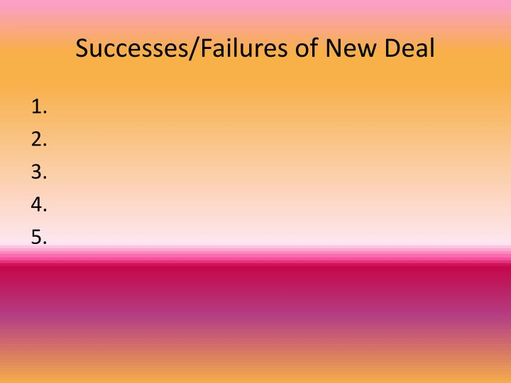 Successes/Failures of New Deal