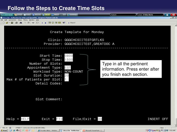 Follow the Steps to Create Time Slots