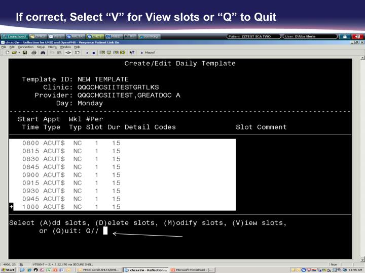 """If correct, Select """"V"""" for View slots or """"Q"""" to Quit"""
